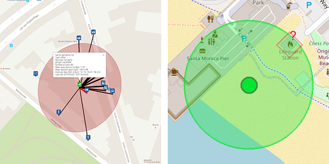 Left: Venue mapping means estimating which of the neighboring venues a user was actually visiting. Right: Human intuition helps us to quickly discard unlikely venues, such as the lifeguard station when a user is visiting the beach.